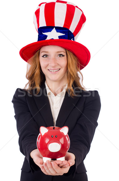 Stock photo: Cute girl wearing american symbol hat isolated on white