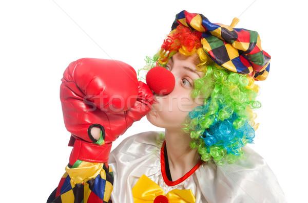 Clown rękawice bokserskie odizolowany biały polu smutne Zdjęcia stock © Elnur