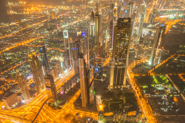 Panoráma éjszaka Dubai naplemente üzlet iroda Stock fotó © Elnur