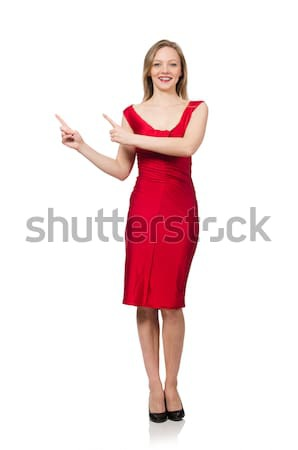 Woman pressing virtual button isolated on white Stock photo © Elnur