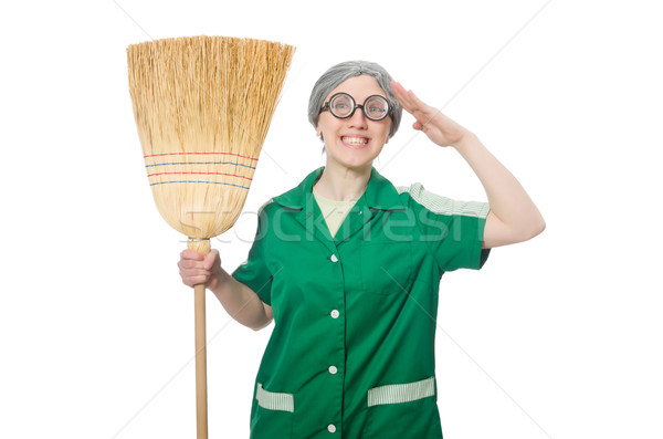 Woman with sweeping brush isolated on white Stock photo © Elnur