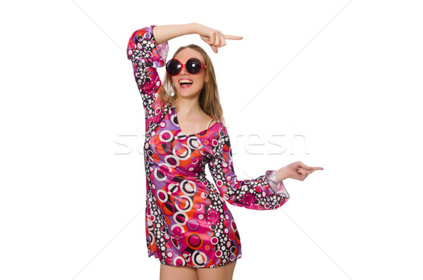 Pretty girl in dress with pink prints isolated on white Stock photo © Elnur