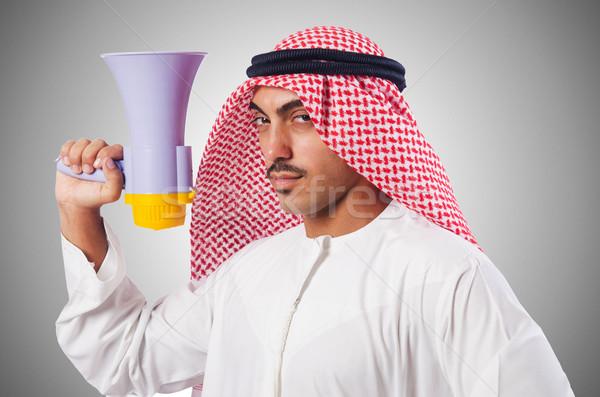 Arab férfi kiált hangfal üzlet munka Stock fotó © Elnur