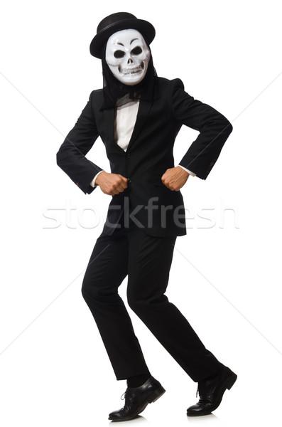 Stock fotó: Férfi · ijesztő · maszk · izolált · fehér · férfi · fehér