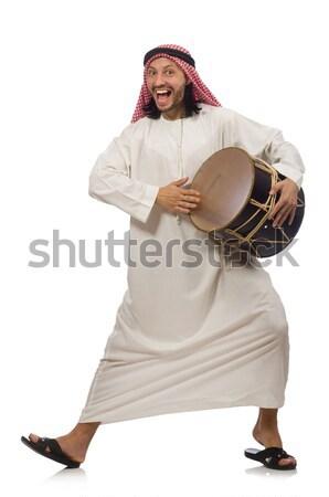 арабских человека играет барабан изолированный белый Сток-фото © Elnur