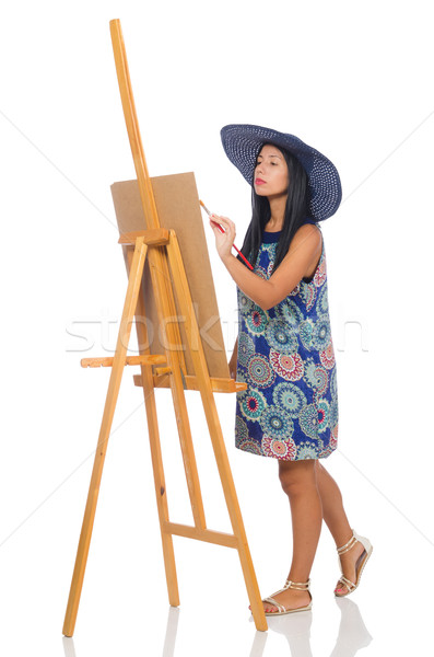 Woman artist isolated on the white Stock photo © Elnur