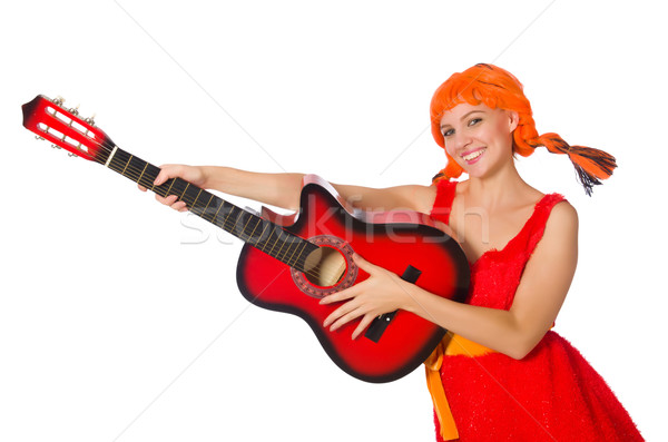 Woman with guitar isolated on white Stock photo © Elnur