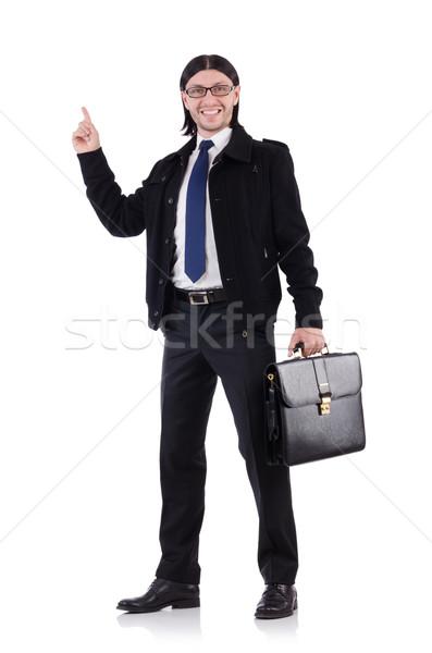 Jungen Geschäftsmann halten Aktentasche isoliert weiß Stock foto © Elnur