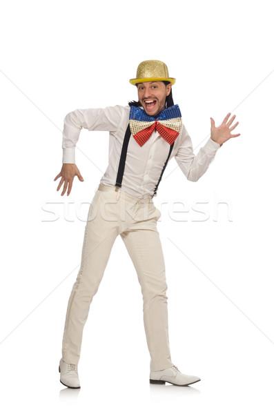 Man grappig geïsoleerd blanke man witte dansen Stockfoto © Elnur
