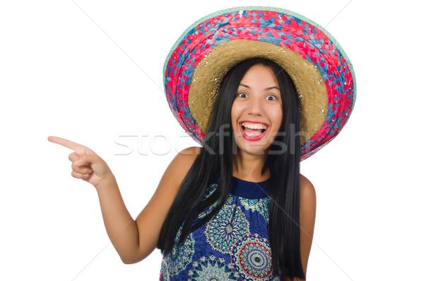 Jovem mulher atraente sombrero branco cara Foto stock © Elnur