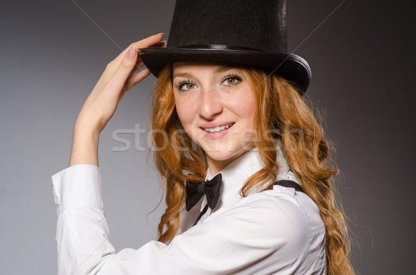 Bastante nina retro sombrero aislado Foto stock © Elnur