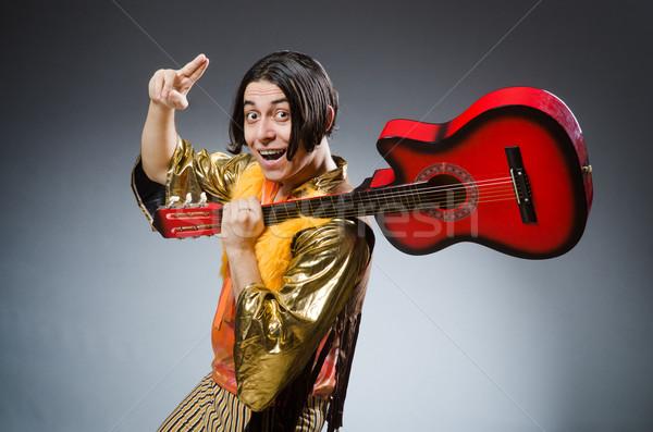 Homem guitarra musical festa metal etapa Foto stock © Elnur