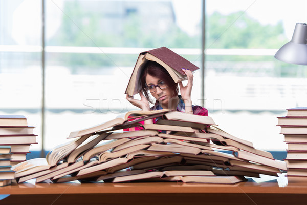 Young woman student preparing for college exams Stock photo © Elnur
