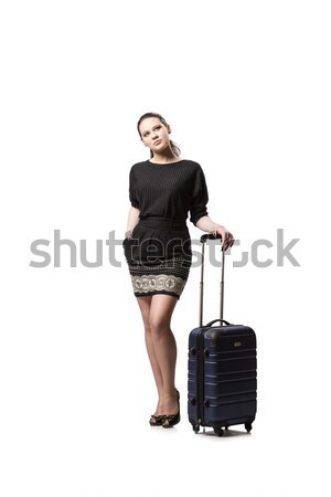 чемодан изолированный белый женщину девушки Сток-фото © Elnur