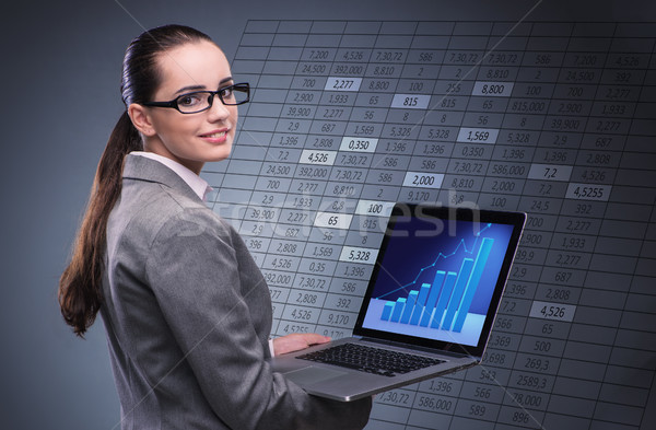 Woman trader working on laptop in stock trading concept Stock photo © Elnur