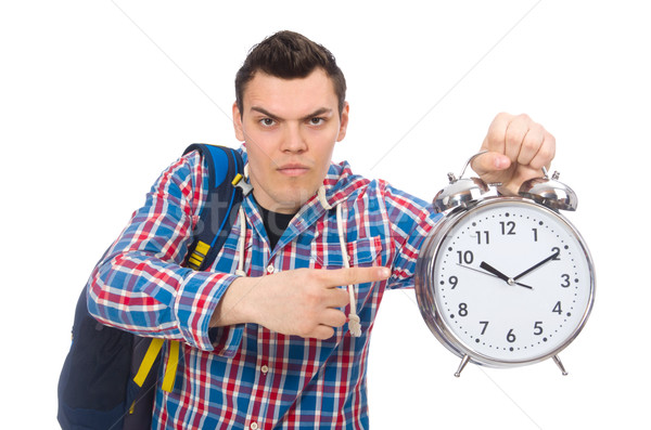 Student holding alarm clock isolated on white Stock photo © Elnur