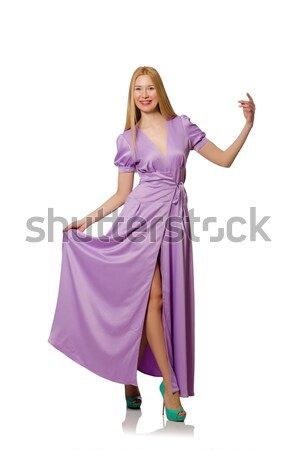Blondie woman in purple long dress isolated on white Stock photo © Elnur