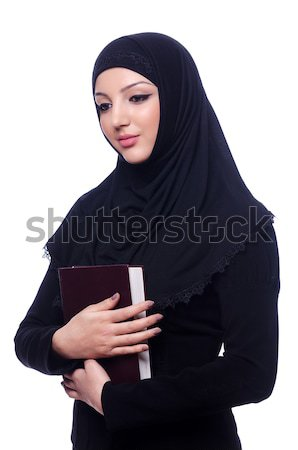 Stockfoto: Moslim · vrouw · zwarte · jurk · geïsoleerd · witte · boeken