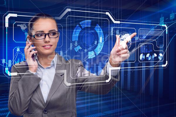 Empresária dados mineração computador telefone rede Foto stock © Elnur