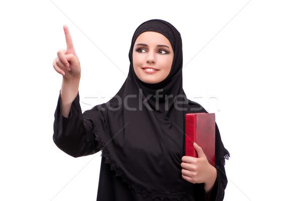 Stock fotó: Muszlim · nő · fekete · ruha · izolált · fehér · lány