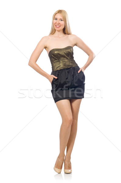 Model in strapless elegant dress isoalted on white Stock photo © Elnur