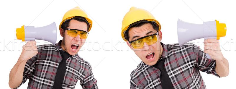 ストックフォト: 小さな · 建設作業員 · ラウドスピーカー · 孤立した · 白 · ビジネス