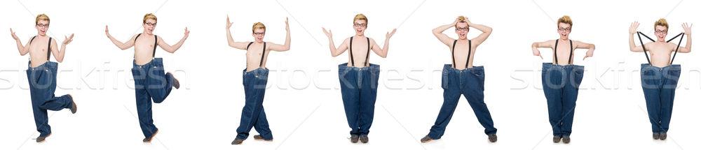 Komik adam pantolon yalıtılmış beyaz kız Stok fotoğraf © Elnur