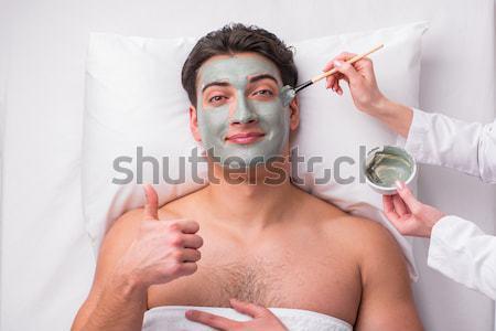 Férfi hajszárító izolált fehér férfi fehér meztelen Stock fotó © Elnur
