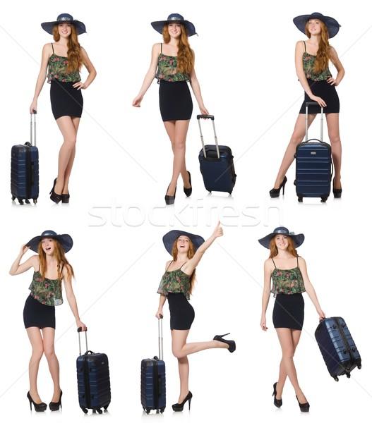 Viaje vacaciones equipaje blanco nina feliz Foto stock © Elnur
