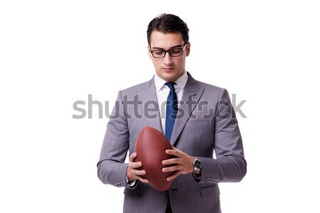 Businessman with american football isolated on white Stock photo © Elnur