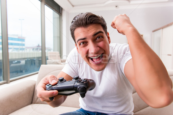 Man addicted to computer games Stock photo © Elnur