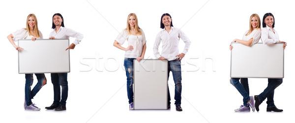 Stockfoto: Paar · boord · geïsoleerd · witte · glimlach · man