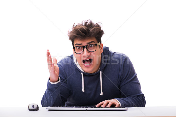 Funny nerd man working on computer isolated on white Stock photo © Elnur