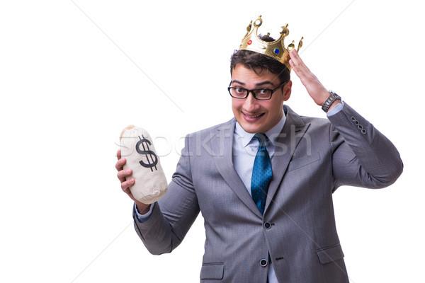 Rei empresário dinheiro saco isolado Foto stock © Elnur