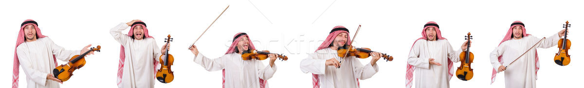 The arab man playing violing on white Stock photo © Elnur