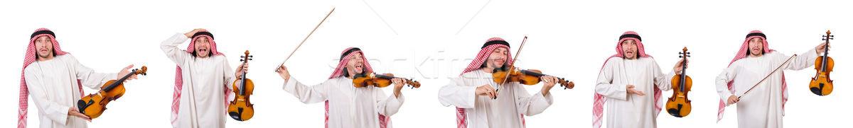 Arab férfi játszik fehér kéz háttér Stock fotó © Elnur