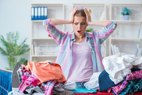 Smutne kobieta odzież domu dziewczyna Zdjęcia stock © Elnur