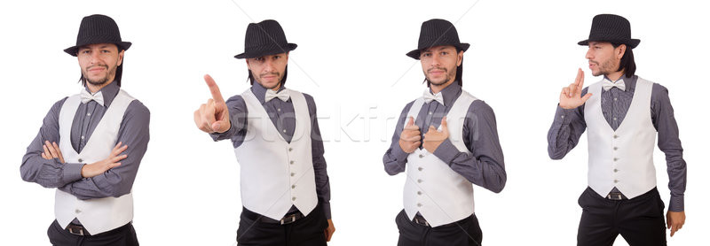 Young man in gray shirt and black hat isolated on white Stock photo © Elnur
