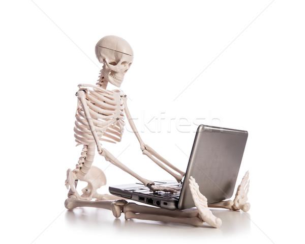 Stock fotó: Csontváz · dolgozik · laptop · üzlet · férfi · technológia