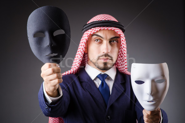 Arab with masks in dark studio Stock photo © Elnur