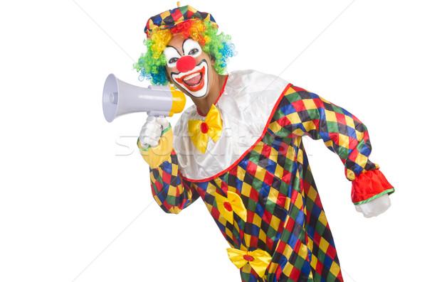 Clown haut-parleur blanche affaires homme anniversaire Photo stock © Elnur