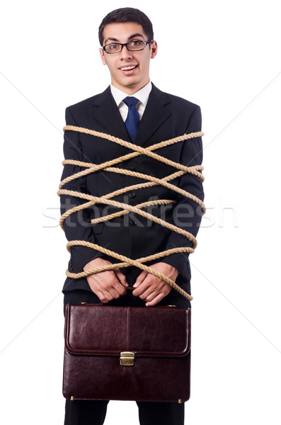 Businessman tied up with rope on white Stock photo © Elnur