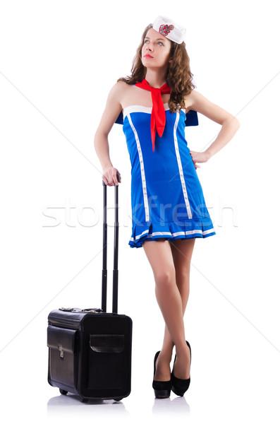 Woman sailor with suitcase on white Stock photo © Elnur