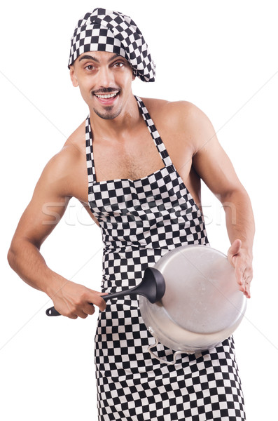 Sexy male cook isolated on the white Stock photo © Elnur