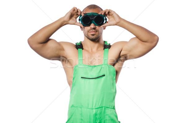 Homem verde óculos de proteção construção trabalhar indústria Foto stock © Elnur