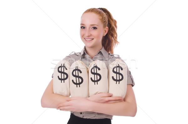 Fiatal üzletasszony pénz fehér üzlet iroda Stock fotó © Elnur