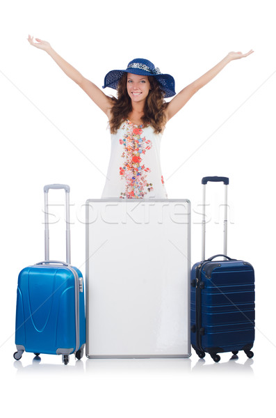 Woman in panama  preparing for vacation with suitcase and blank  Stock photo © Elnur