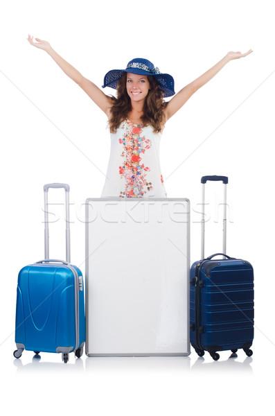 женщину Панама отпуск чемодан совета изолированный Сток-фото © Elnur