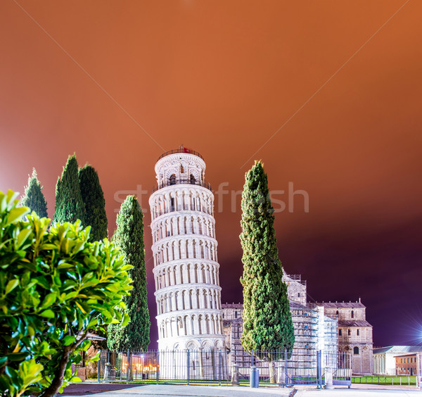 Famous leaning tower of Pisa during evening hours Stock photo © Elnur