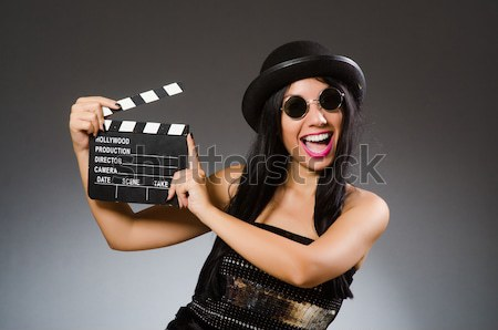 Satan halloween concept with movie clapper board Stock photo © Elnur